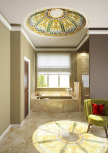 Harlequin stained glass ceiling dome