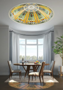 livingroom stained glass ceiling dome