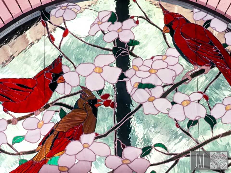Cardinal Hill Farm - Stained Glass Door Red Cardinals
