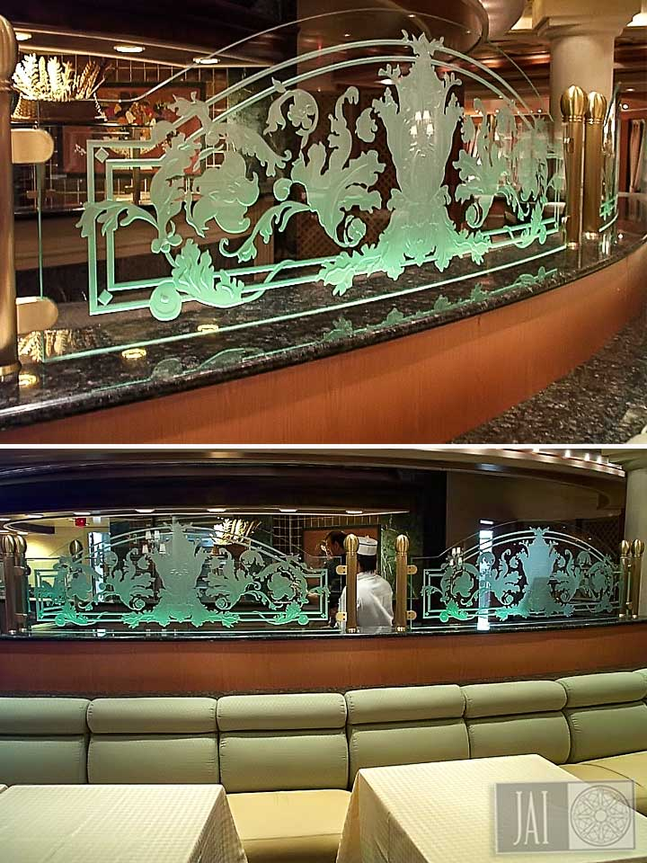 Coral Princess Restaurant Carved Glass