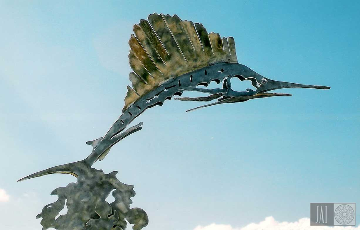 Marina sculpture of a sailfish