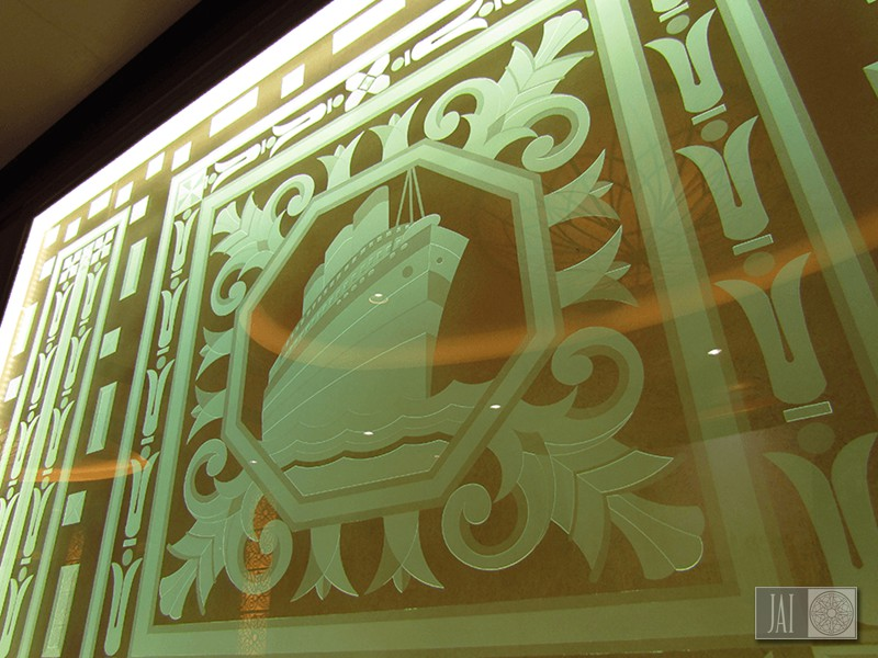 Cunard Queen Elizabeth Glass Panel