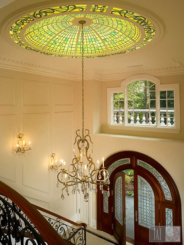 Residential stained glass ceiling dome